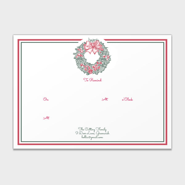 "Holiday Wreath ""To Remind"" Note Cards"