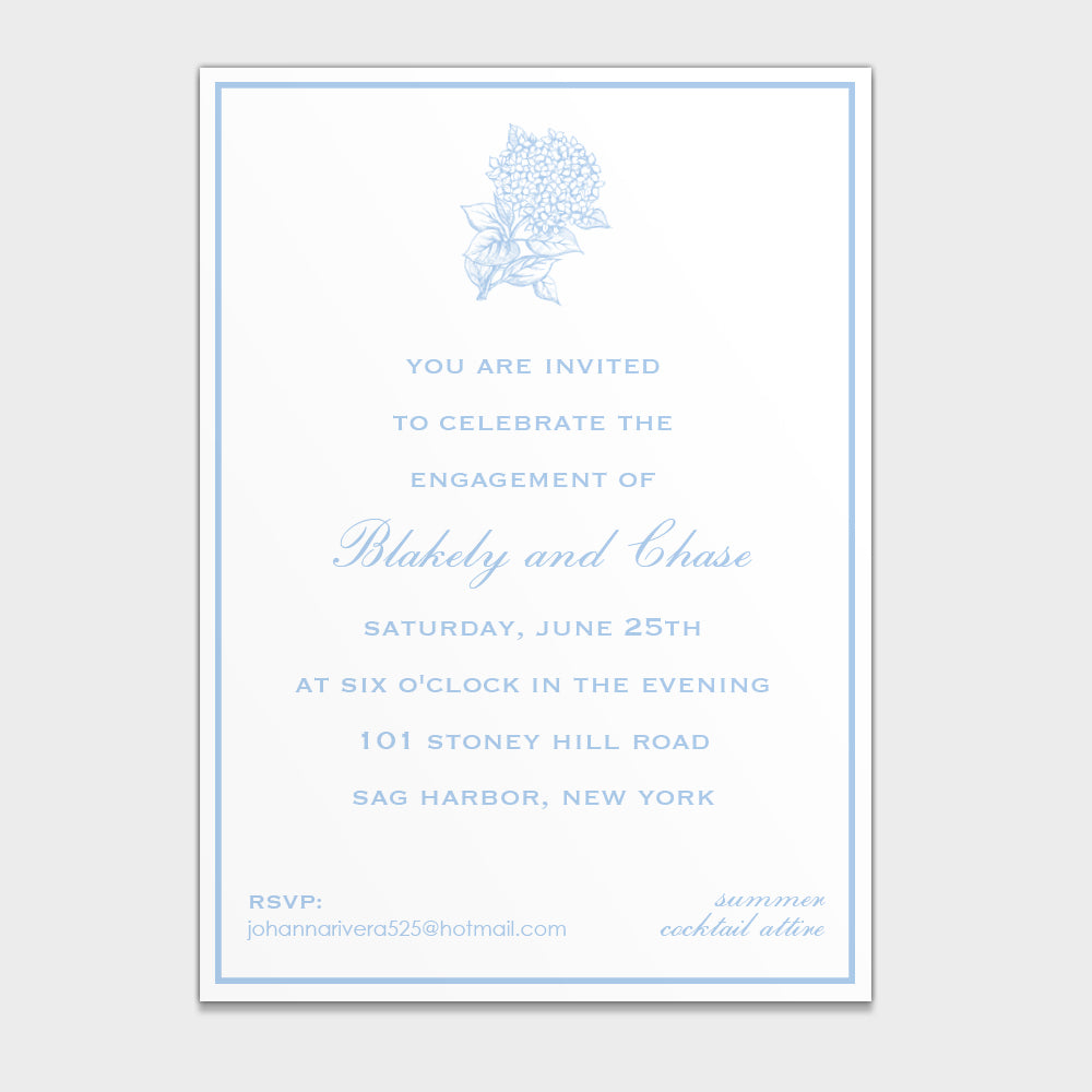 Engagement Hydrangea Invitation