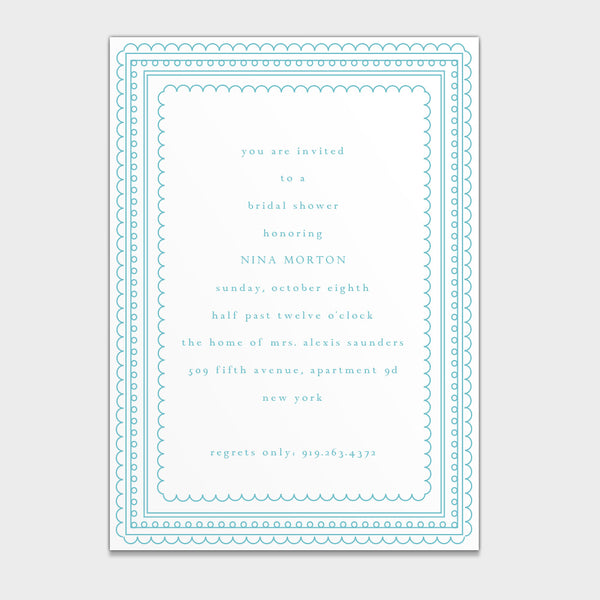 Bridal Shower Scallop Edge Invitation