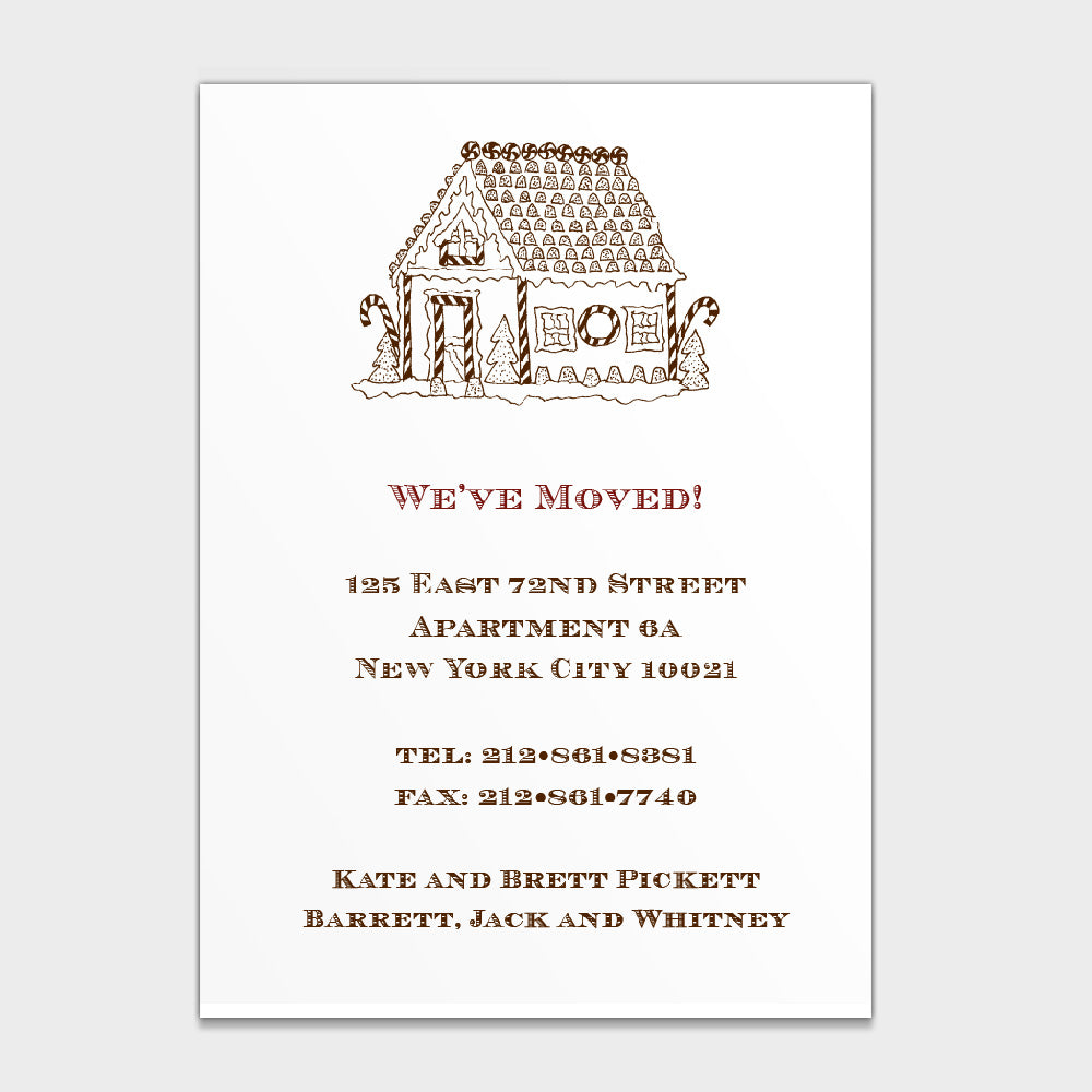 Gingerbread House Moving Card