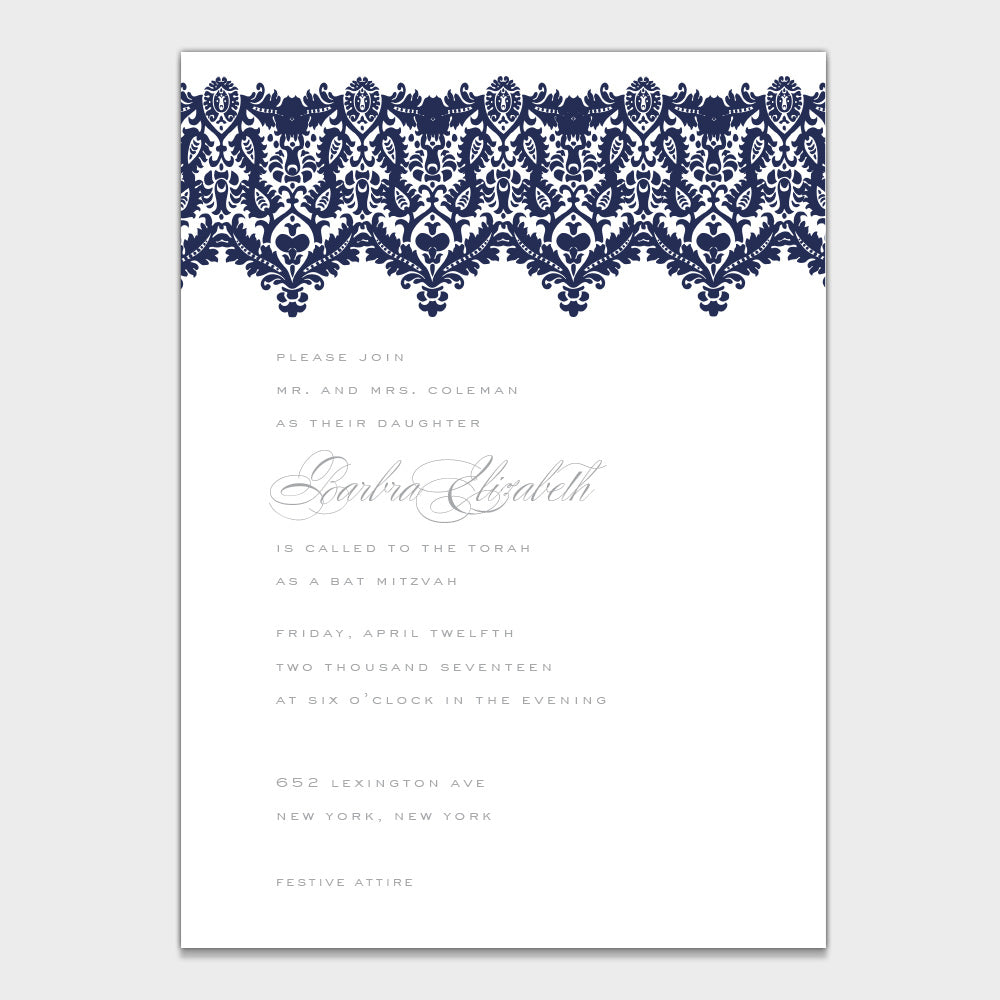 Brocade Bat Mitzvah Invitation