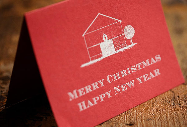 Folded Red Manger Christmas Card