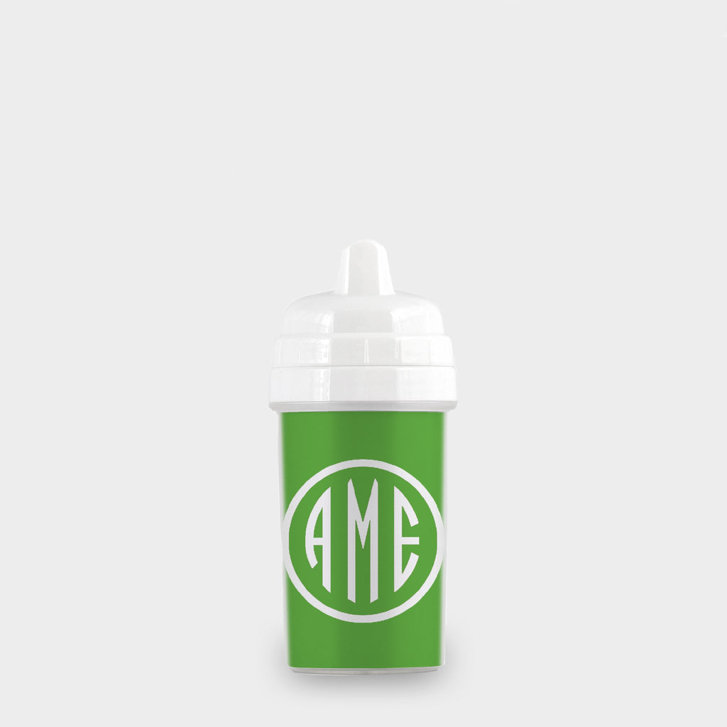 Citrus and White Monogram Sippy Cup