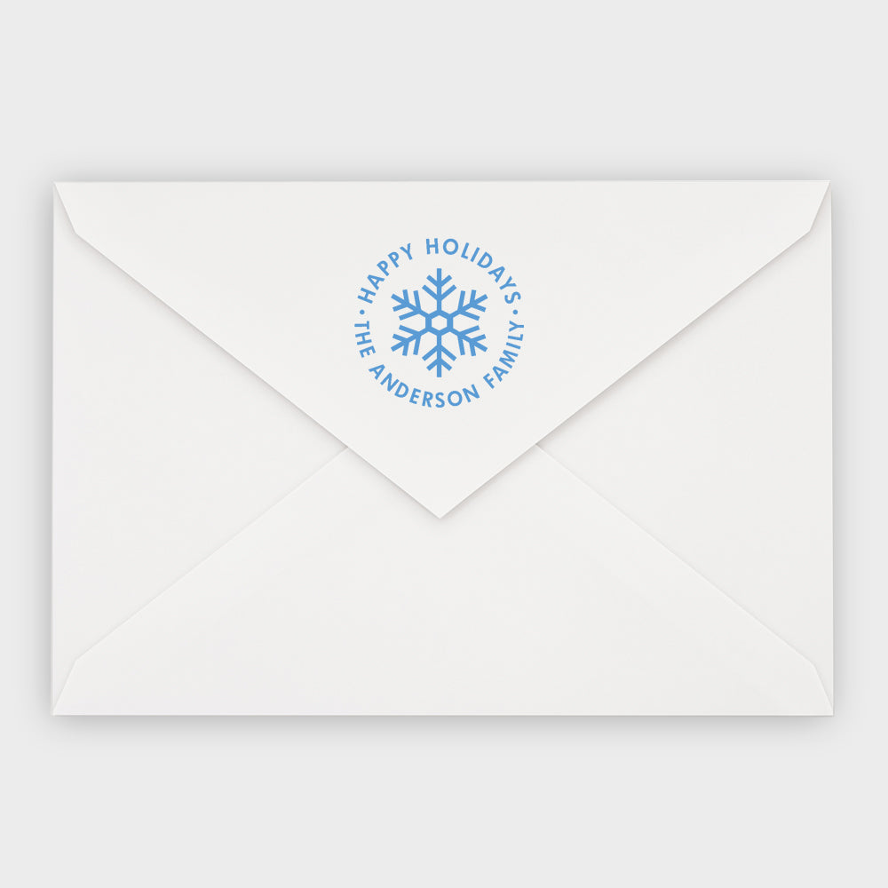 Snowflake Round Holiday Stamp