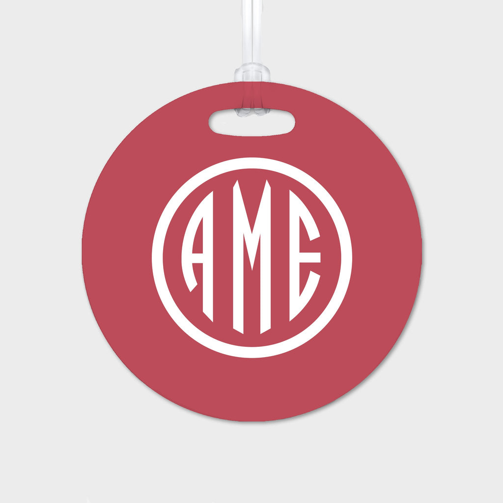 Red and White Monogram Luggage Tag