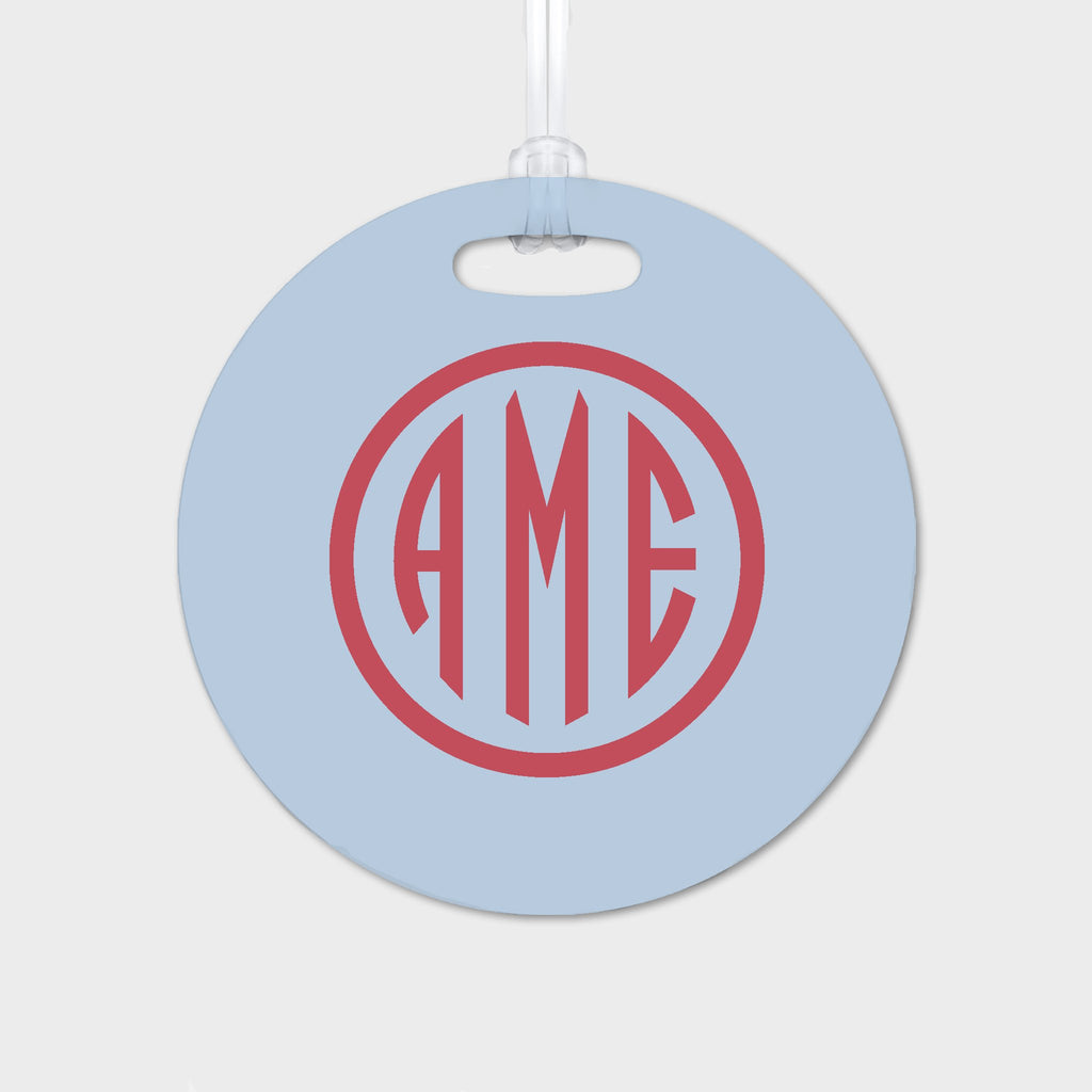 Bluebell and Red Monogram Luggage Tag