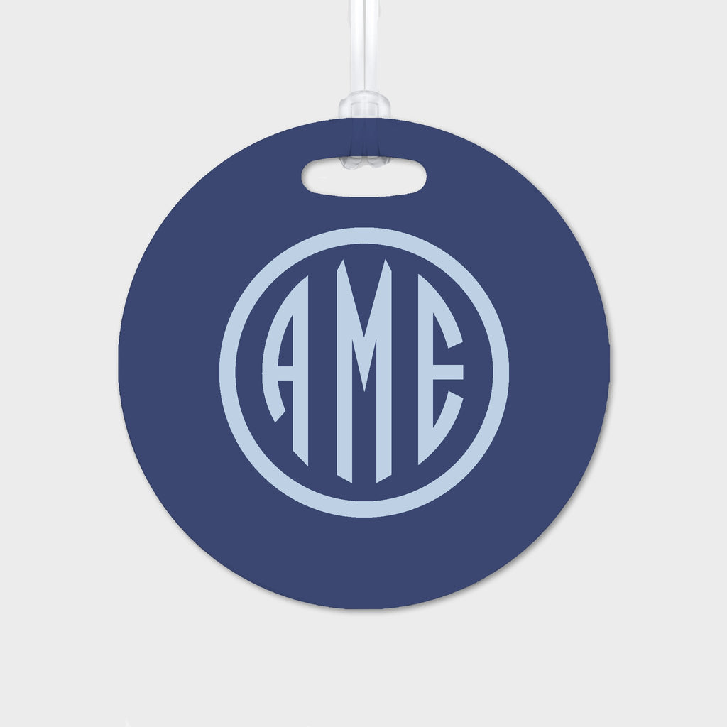 Navy and Bluebell Monogram Luggage Tag