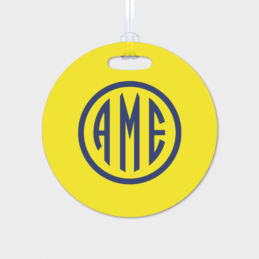 Yellow and Navy Monogram Luggage Tag