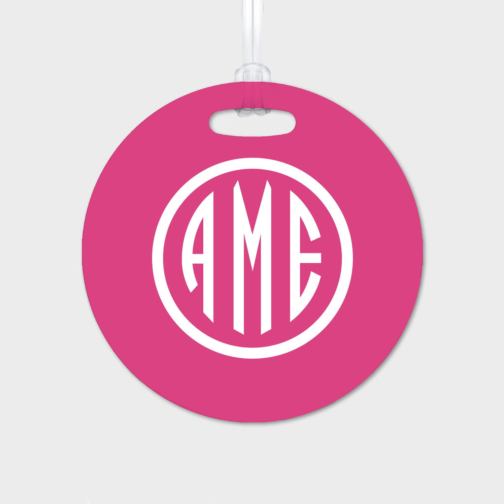 Magenta and White Monogram Luggage Tag