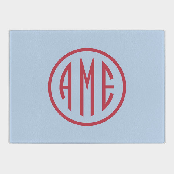 Bluebell and Red Monogram Glass Cutting Board