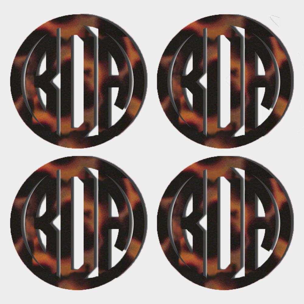 Tortoise Acrylic Monogram Coaster, Set of 4