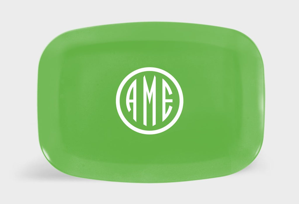 Citrus and White Monogram Melamine Platter