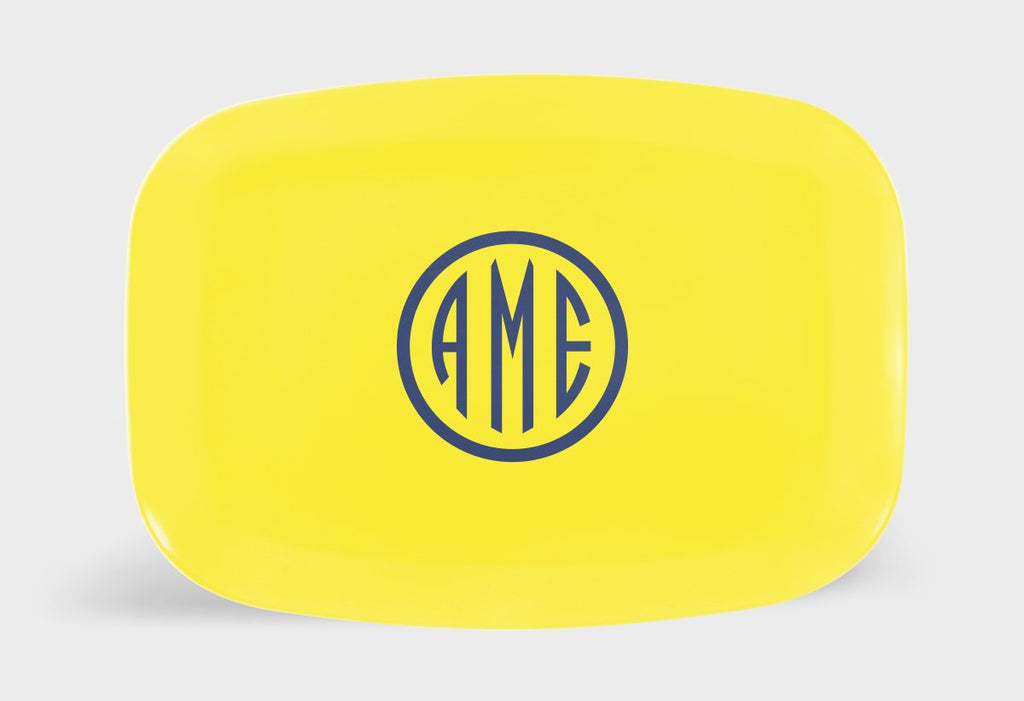 Yellow and Navy Monogram Melamine Platter