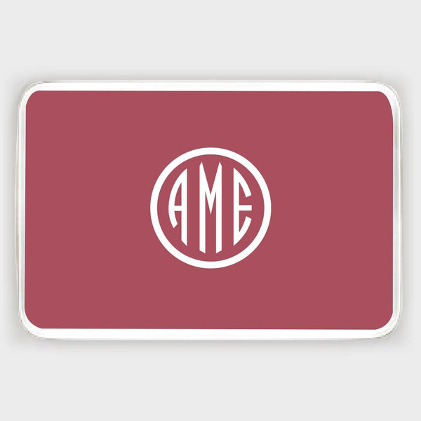 Red and White Monogram Melamine Tray