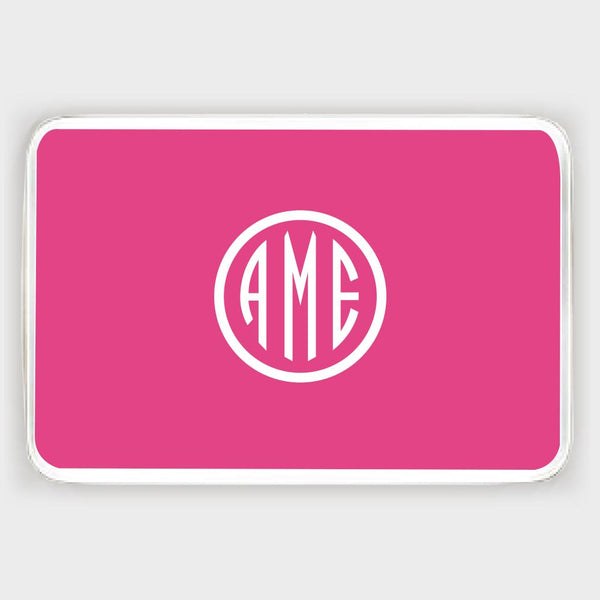 Magenta and White Monogram Melamine Tray