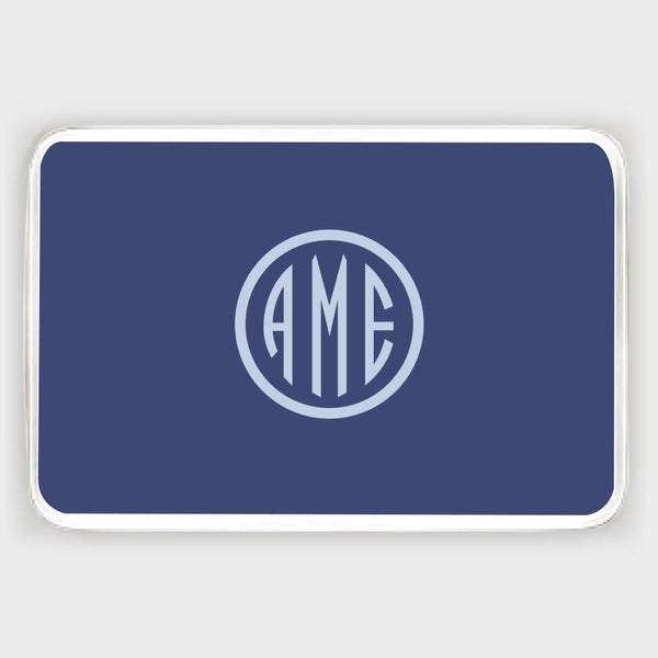 Navy and Bluebell Monogram Melamine Tray
