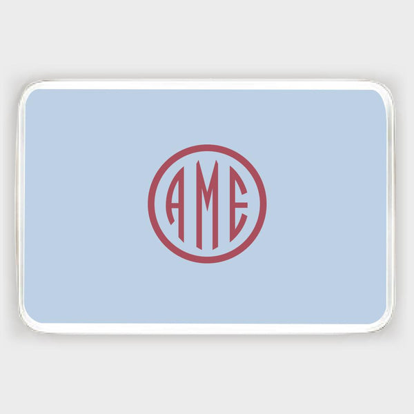 Bluebell and Red Monogram Melamine Tray