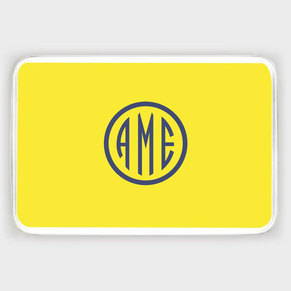 Yellow and Navy Monogram Melamine Tray