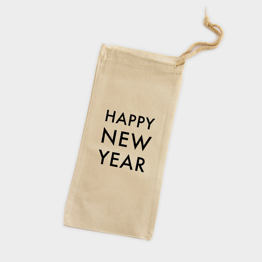 New Year Canvas Wine Tote
