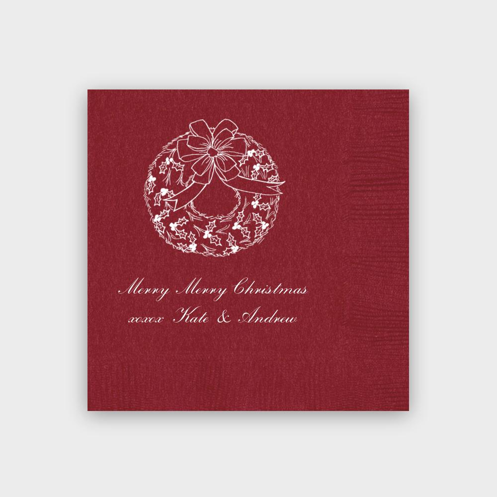 Christmas Wreath Napkins Red