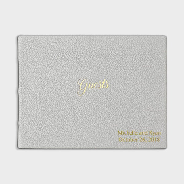 Gray Leather Guest Book