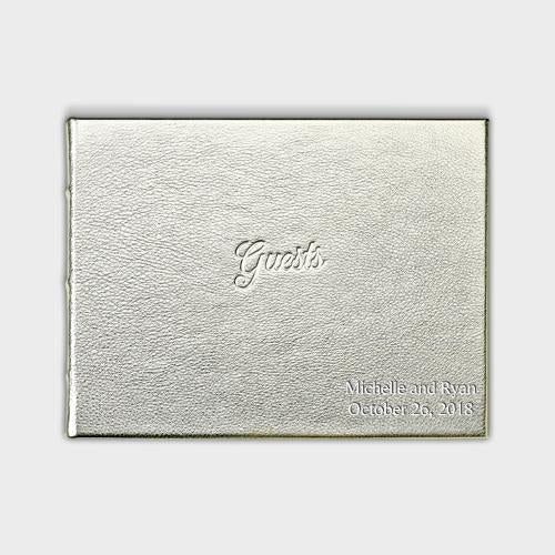 White Gold Leather Guest Book