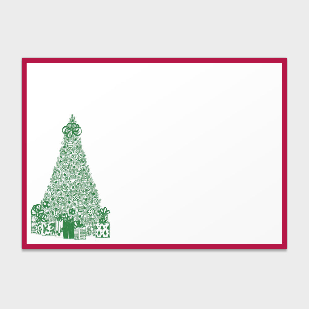 Engraved Holiday Christmas Tree Note Cards