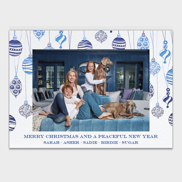 Blue Ornaments Christmas Card