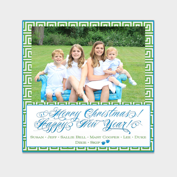 Greek Key Christmas Card
