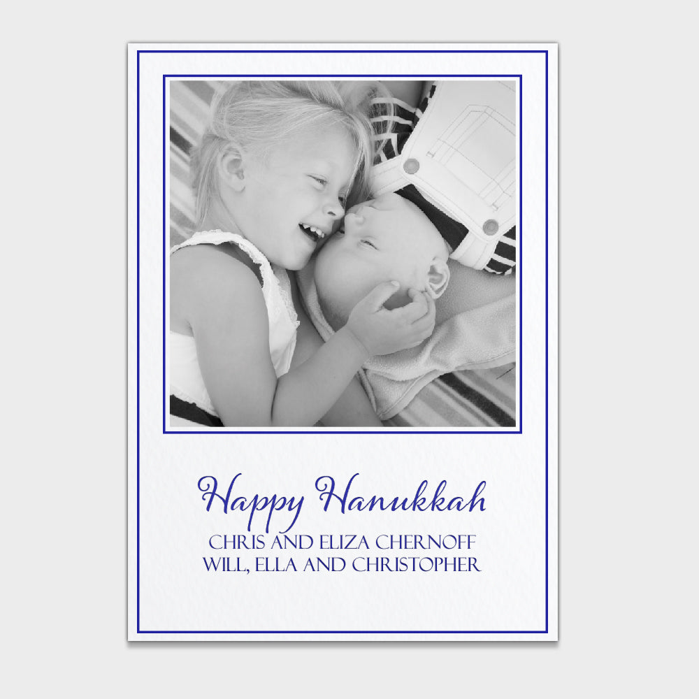 Happy Hanukkah Simple White Photo Card