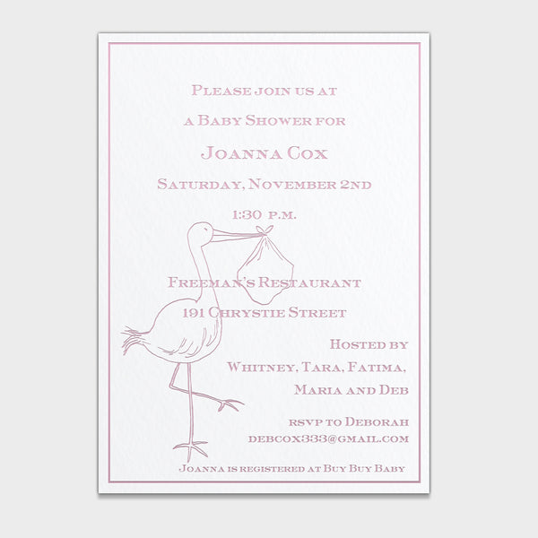 Pink Stork Shower Invitation
