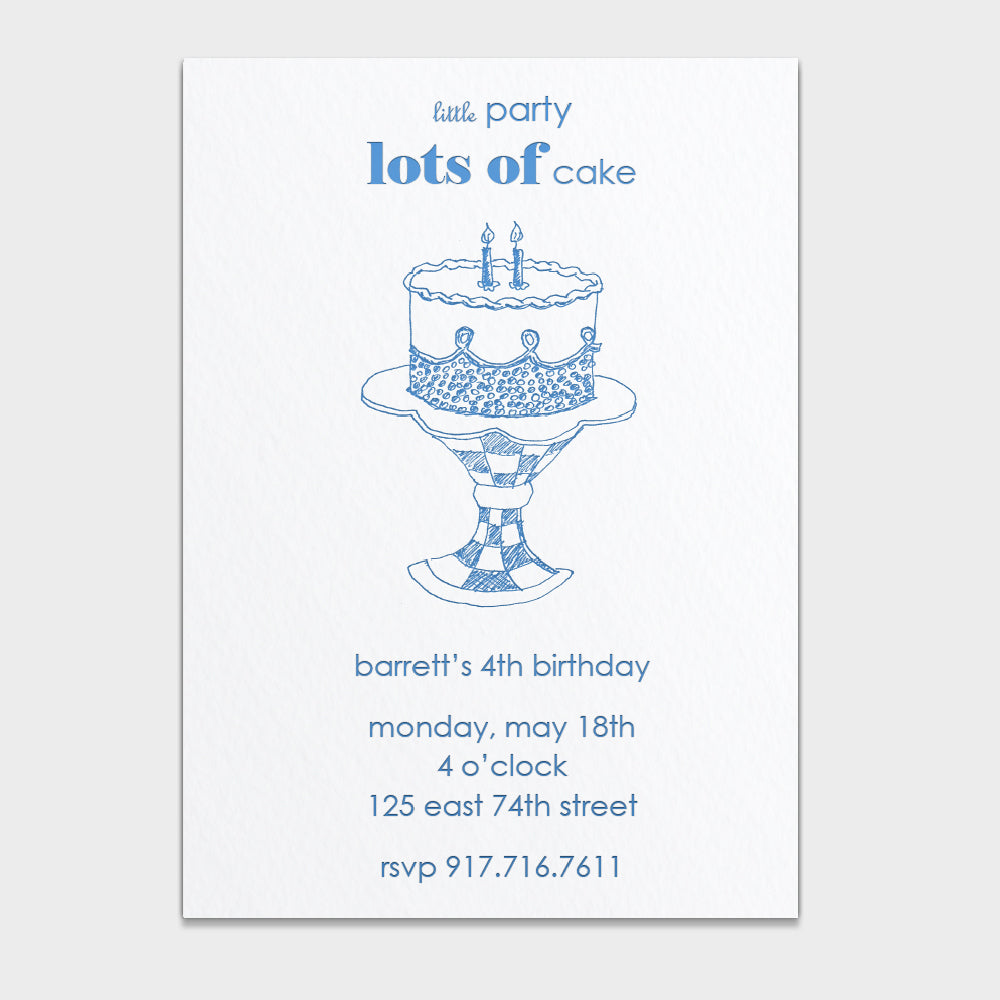 Lots of Cake Blue Invitation