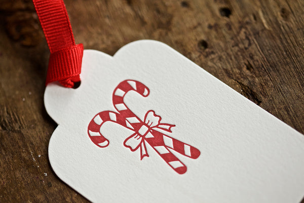 Candy Cane Letterpress Gift Tag