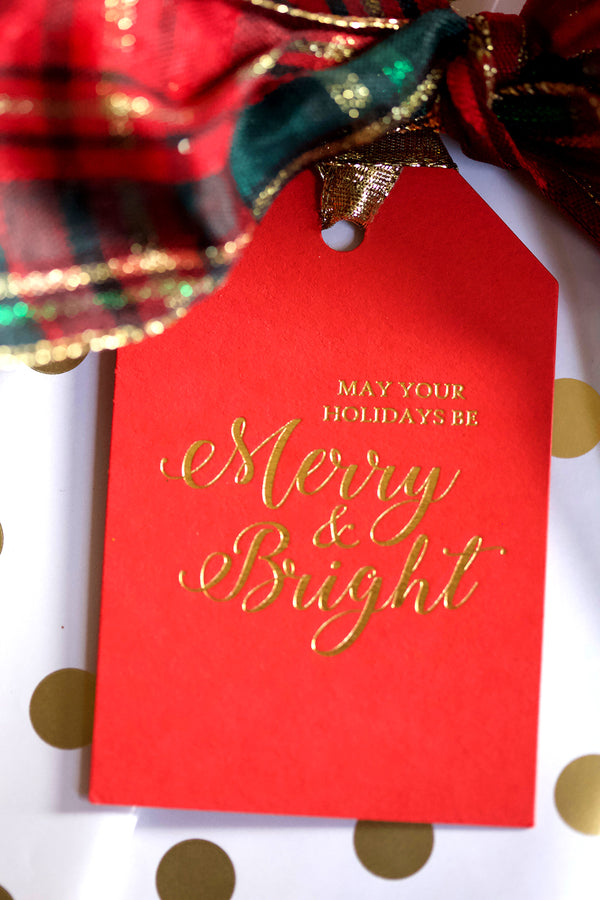 Merry & Bright Letterpress Gift Tag