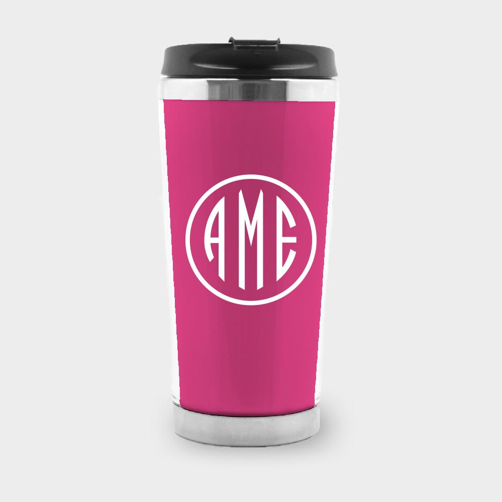 Magenta and White Monogram Travel Tumbler