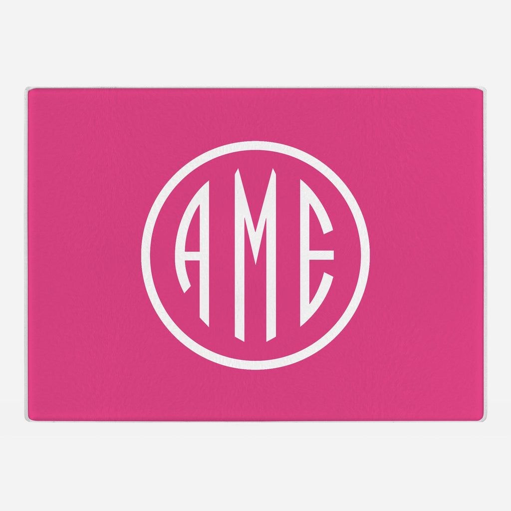 Magenta and White Monogram Glass Cutting Board