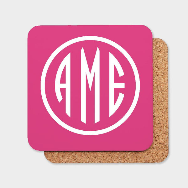 Magenta and White Monogram Coaster