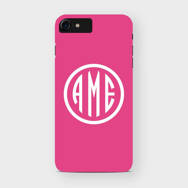Magenta and White Monogram iPhone Case