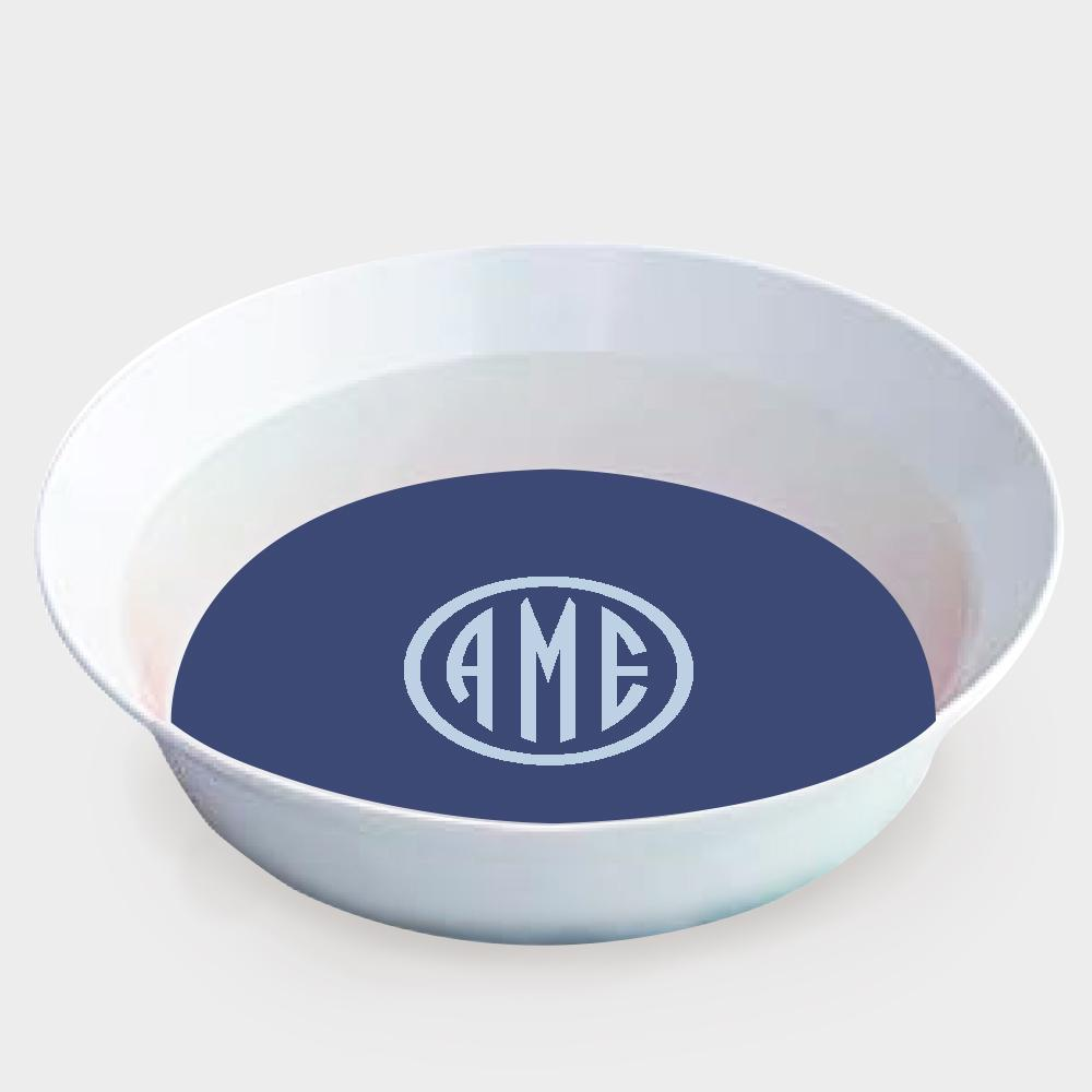 Navy and Bluebell Monogram Melamine Bowl