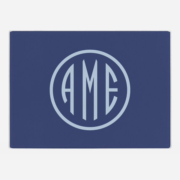 Navy and Bluebell Monogram Glass Cutting Board