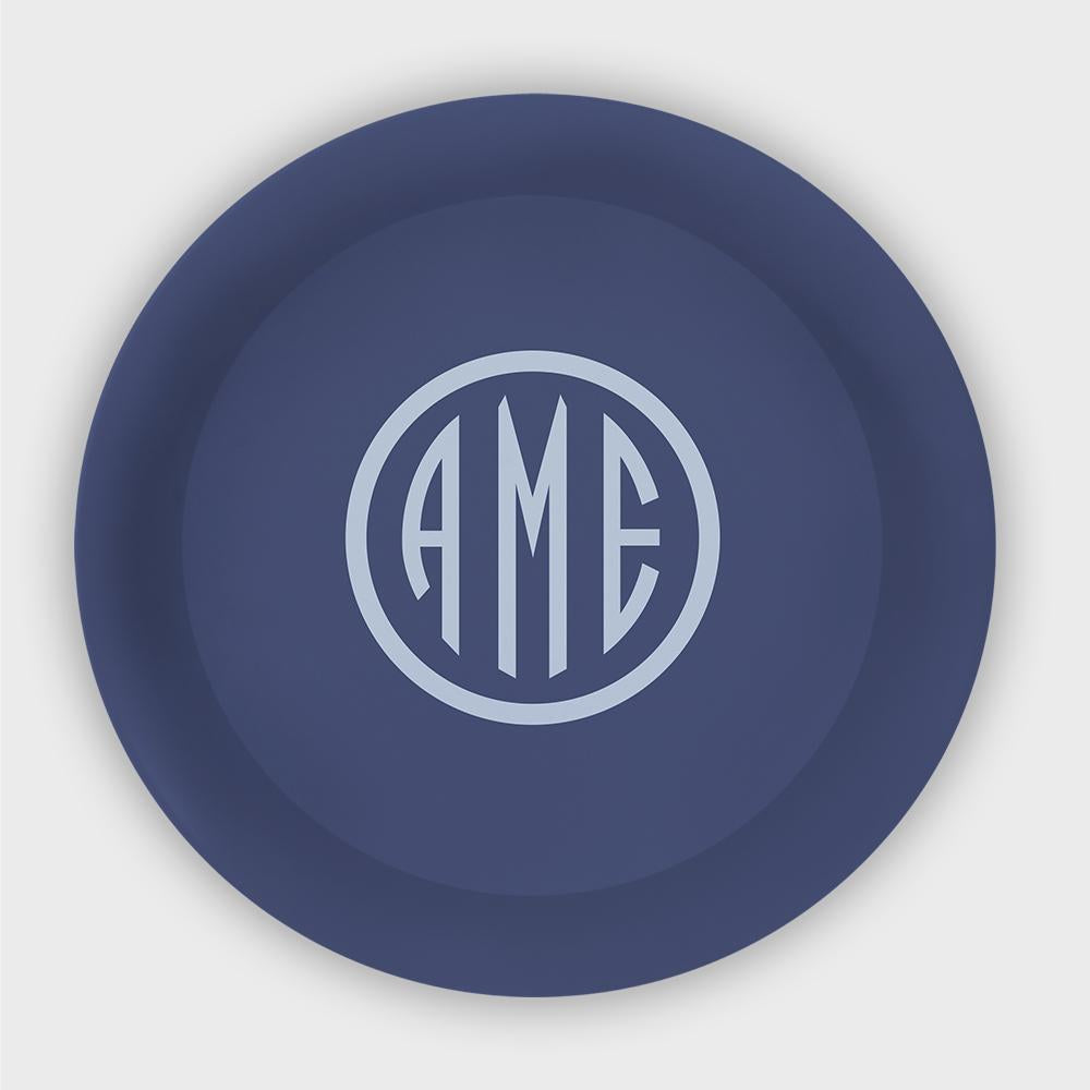 Navy and Bluebell Monogram Melamine Plate