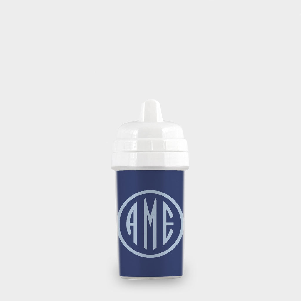Navy and Bluebell Monogram Sippy Cup