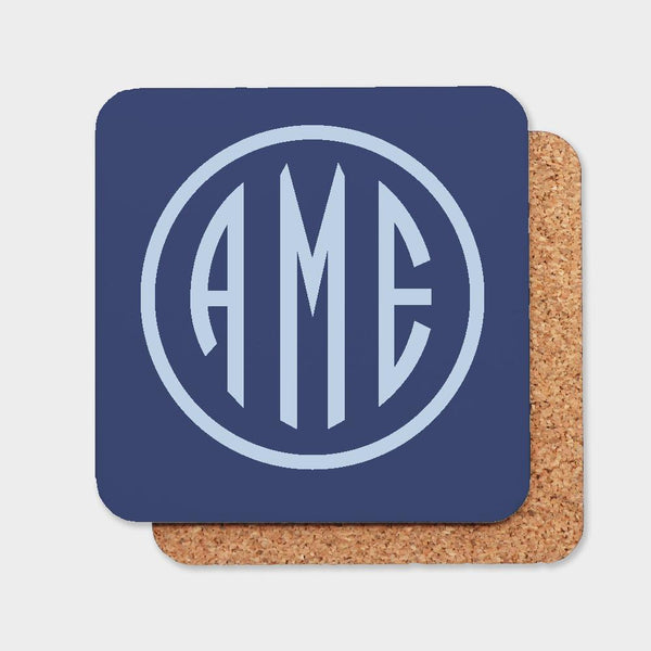 Navy and Bluebell Monogram Coaster