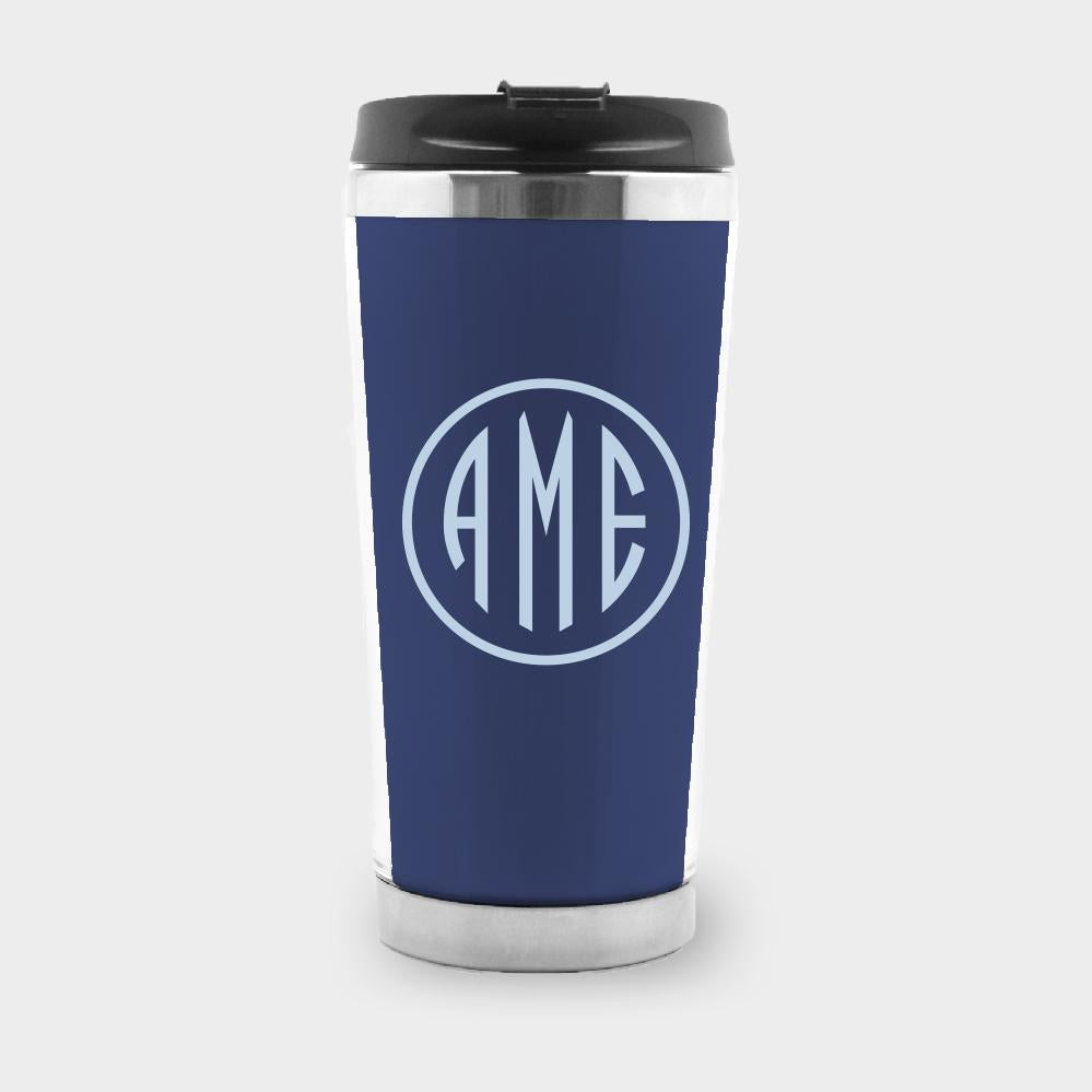 Navy and Bluebell Monogram Travel Tumbler