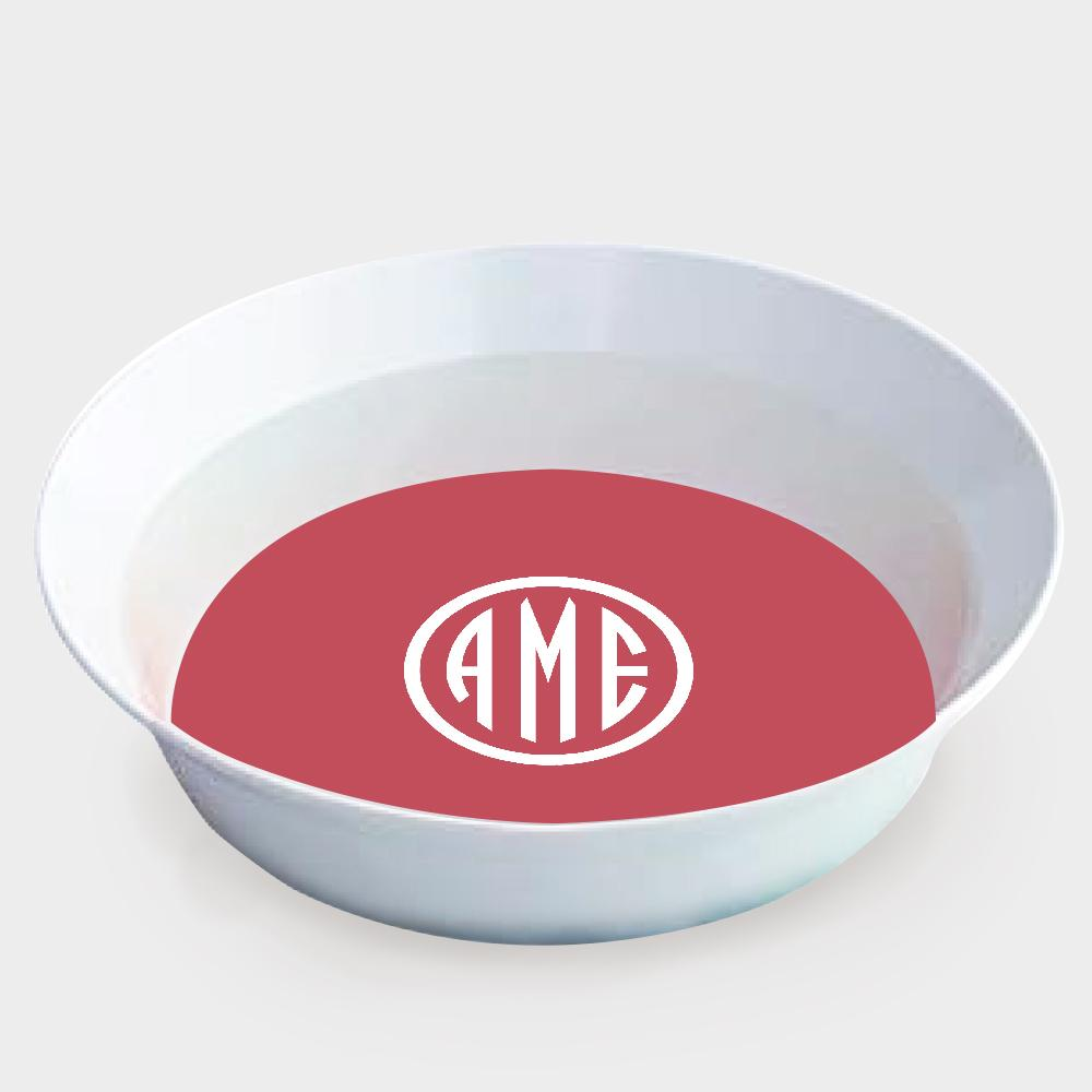 Red and White Monogram Melamine Bowl