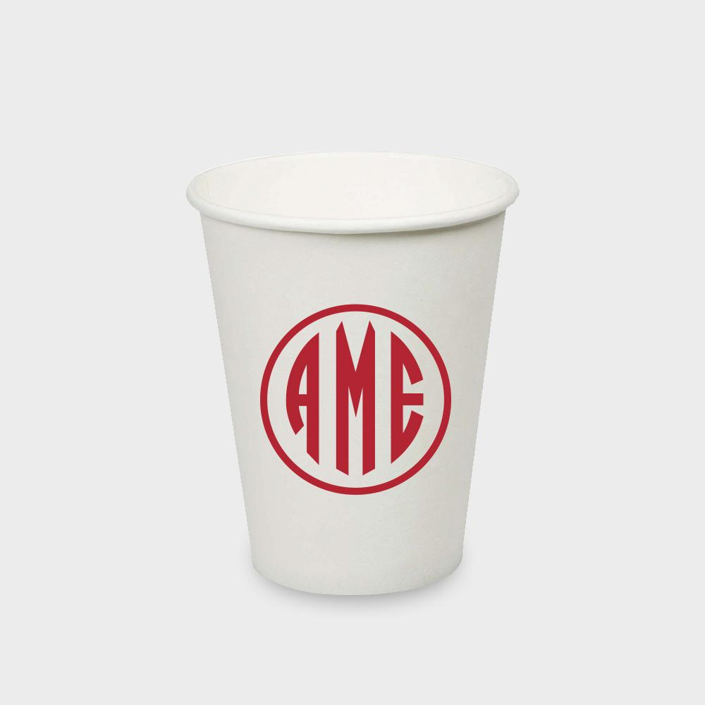 Red Monogram Paper Cup