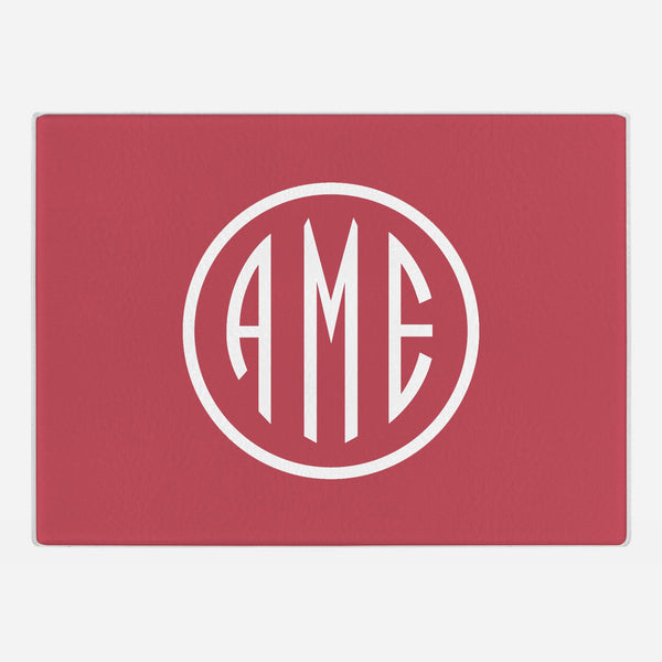 Red and White Monogram Glass Cutting Board