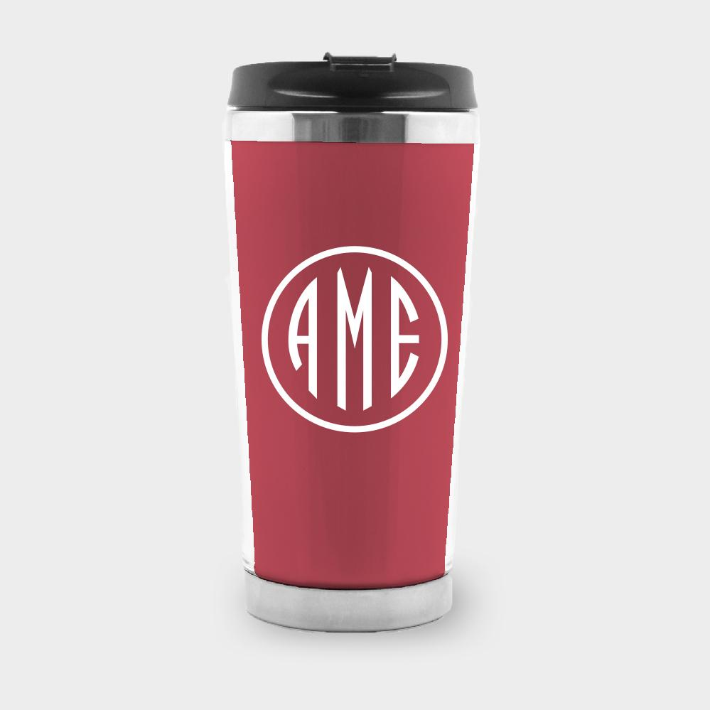 Red and White Monogram Travel Tumbler