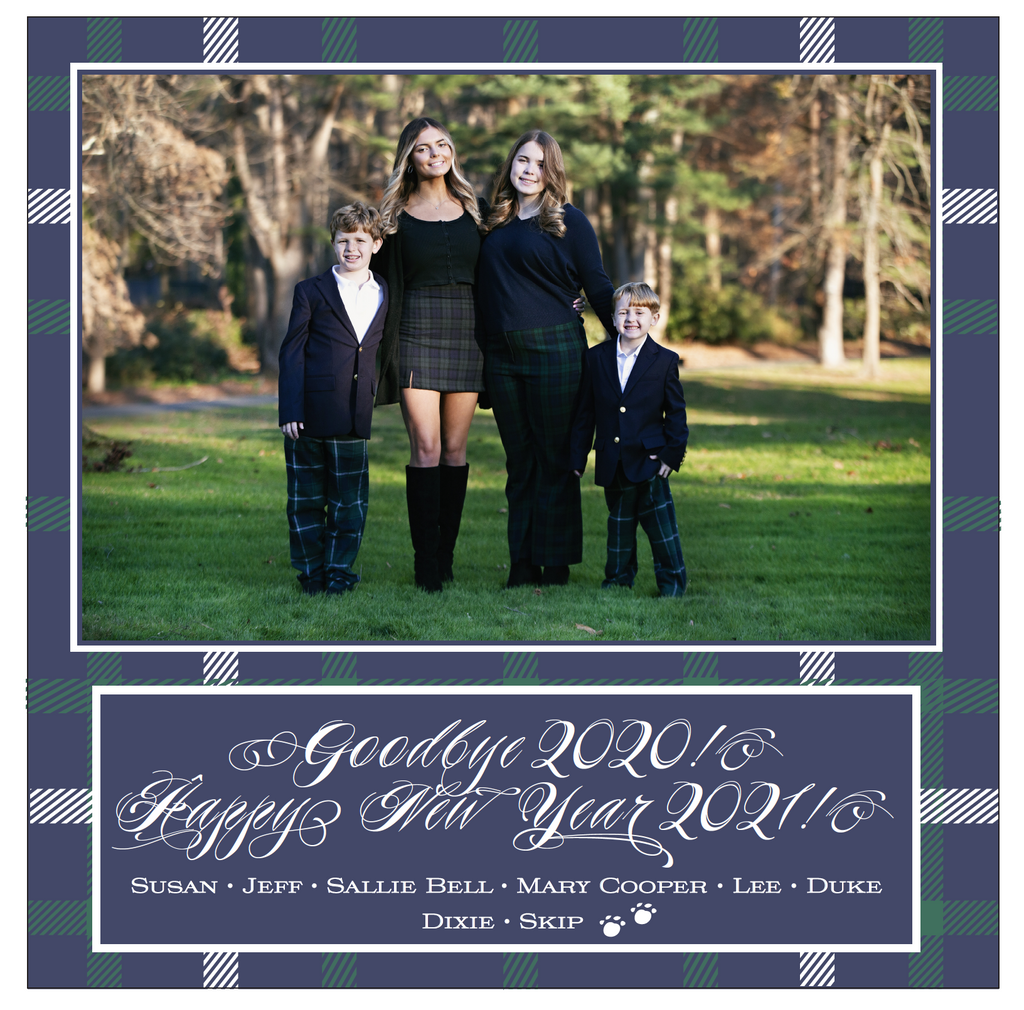Navy Plaid Christmas Card