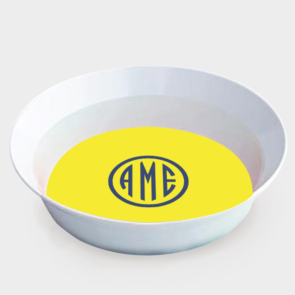 Yellow and Navy Monogram Melamine Bowl